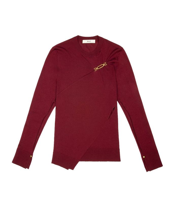 1851 sweater merino wool mix top in burgundy