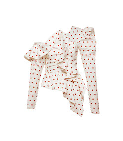 asymmetric satin polka dot top