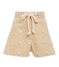 greta stretch-cotton high waisted shorts