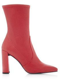 clinger stretch leather ankle boots