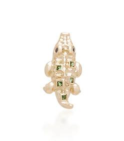 mini crocodile 18k gold tsavorites and black diamond single earring