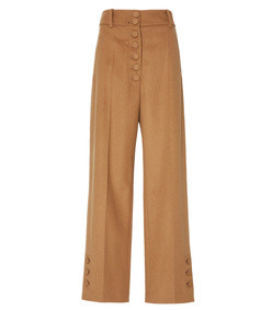 young high-rise wool and cashmere-blend wide leg pants