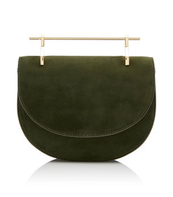 m'o exclusive mini half moon suede shoulder bag