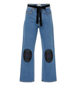belted patchwork-effect mid-rise straight-leg jeans