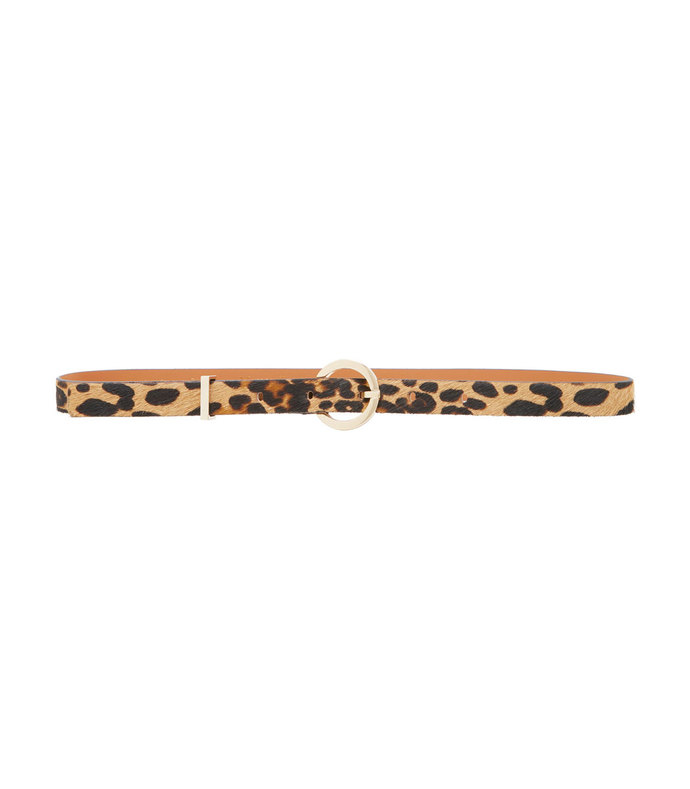 leopard print leather and calf hair belt