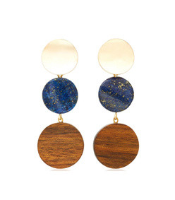 the arlo gold-plated, lapis and shedua wood earrings