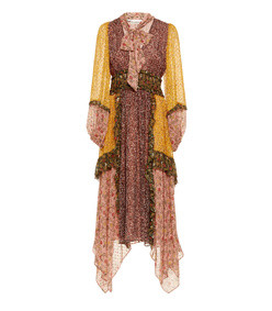 primrose asymmetrical silk ruffle dress