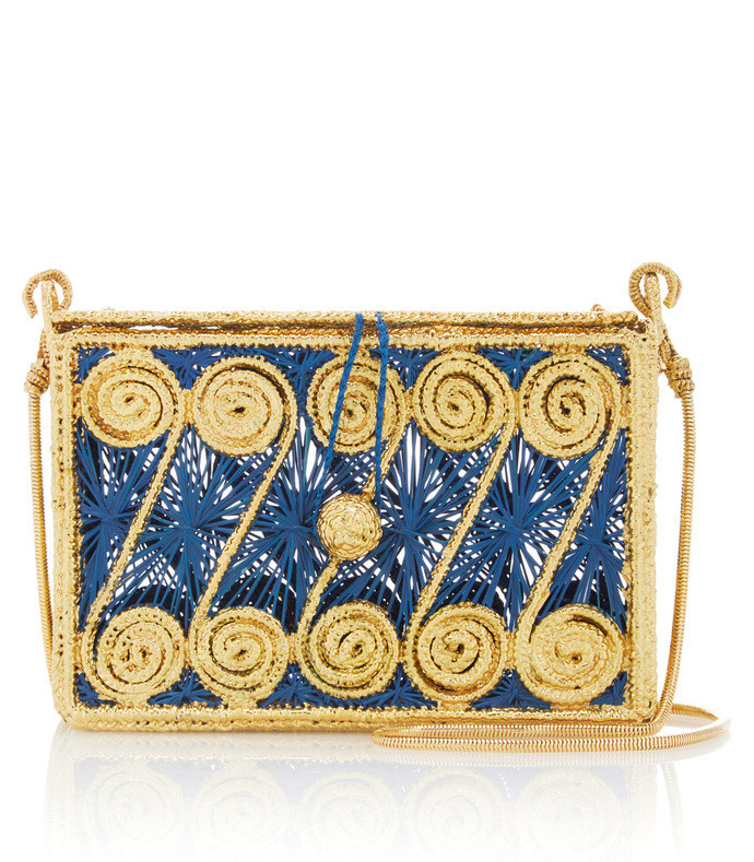 caracoles clutch with gold threading