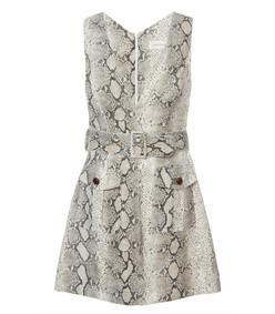 belted snake-print mini dress