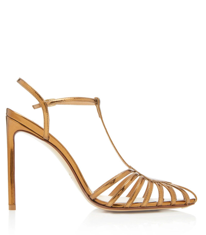 metallic cage t strap pump