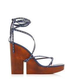 pilotis wooden wedge leather sandals