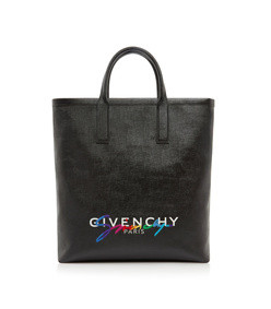 tag printed leather tote