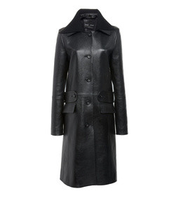 knit collar lurex leather coat