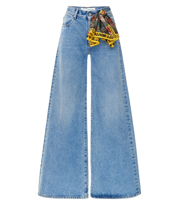 scarf-detailed mid-rise wide-leg jeans