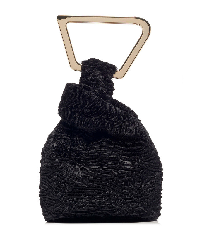 astraea faux fur top handle bag