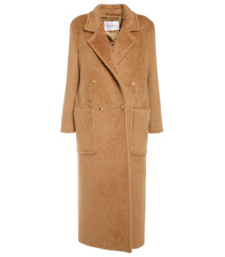 camel double breasted long coat