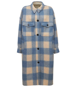 fontizi check felted long shirt coat