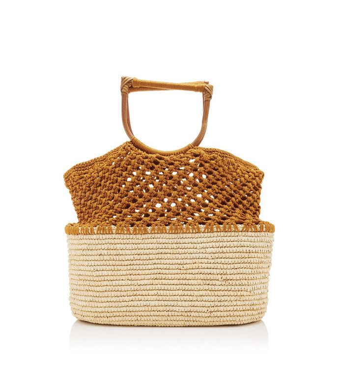 oversized straw and macramé tote