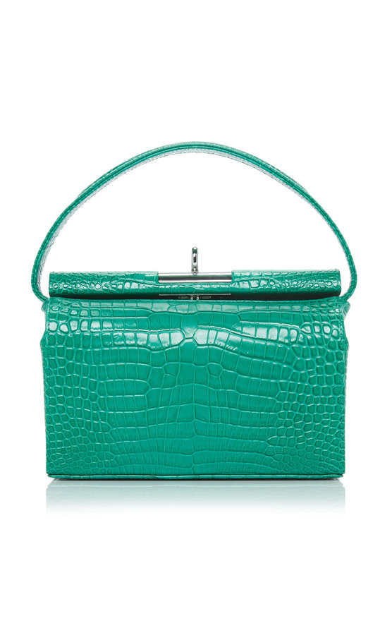 milky croc-embossed leather bag