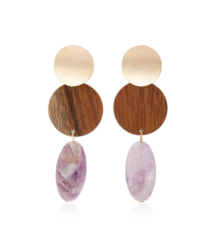 the nymph gold-plated, shedua wood and amethyst earrings