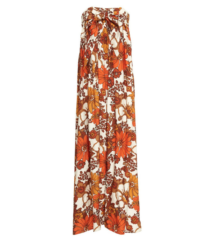 zaza strapless printed crepe dress