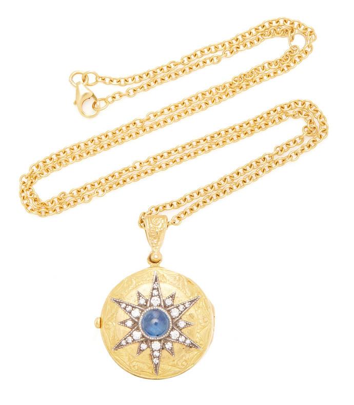 22k gold and sapphire starburst locket necklace