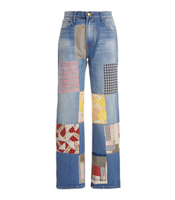 arts patchwork straight-leg mid-rise jeans