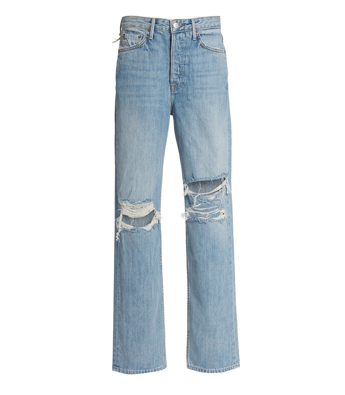 mica distressed rigid high-rise straight-leg jeans