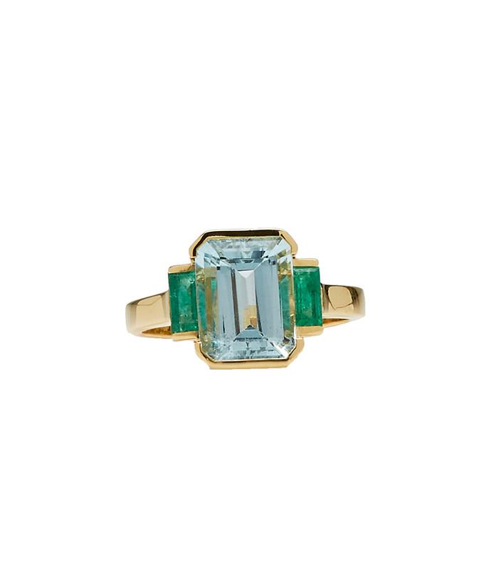 18k gold, emerald and aquamarine ring