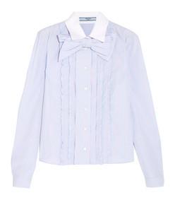 bow-embellished ruffled striped cotton shirt