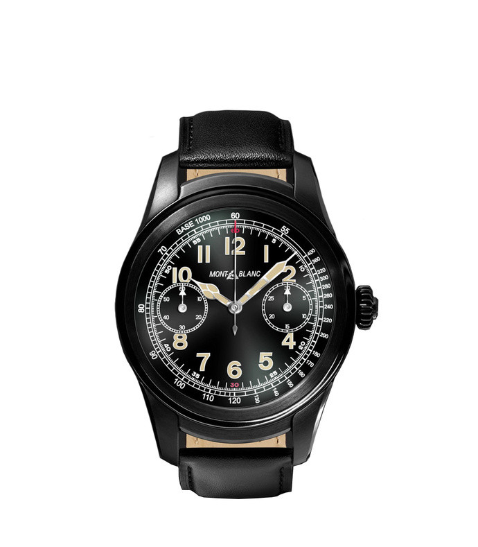 summit 46mm pvd-coated stainless steel and leather smart watch