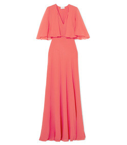 cape-effect satin-trimmed silk-georgette gown