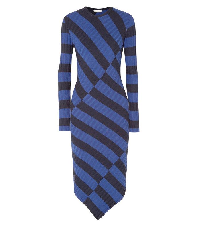 whistler asymmetric striped ribbed-knit dress