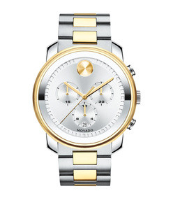 44mm bold chronograph watch, silver