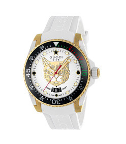 40mm dive watch w/ rubber strap, white