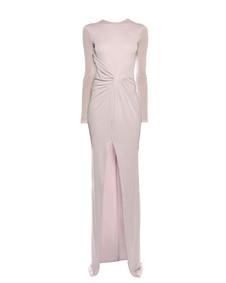 long-sleeve draped front high-slit column evening gown