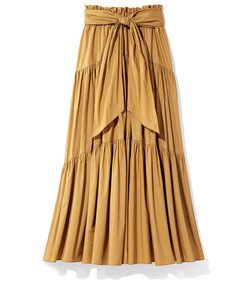 tiered poplin a-line long skirt