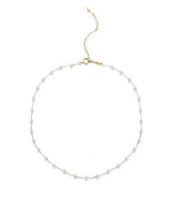 14k pearl station chain choker necklace