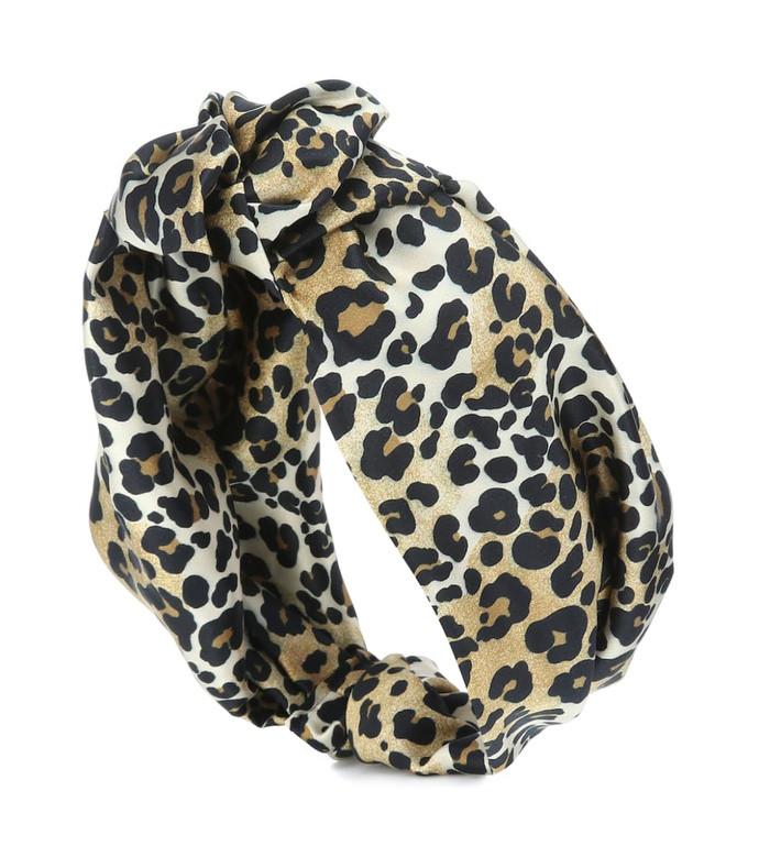 leopard stretch-silk headband