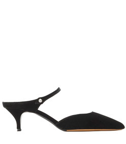 liberty pointy toe low mule - black velvet