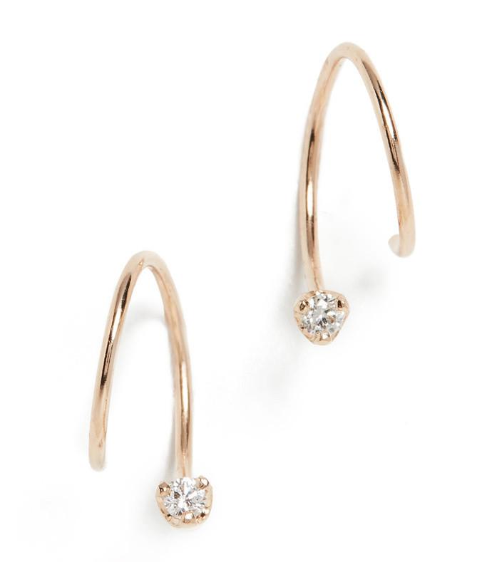14k gold longer swirl huggie earrings