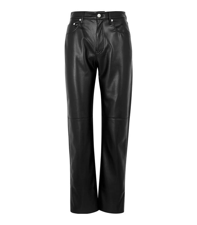 vinni black faux-leather trousers