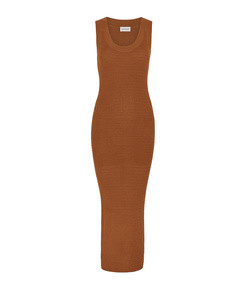 minasia rust fine-knit midi dress