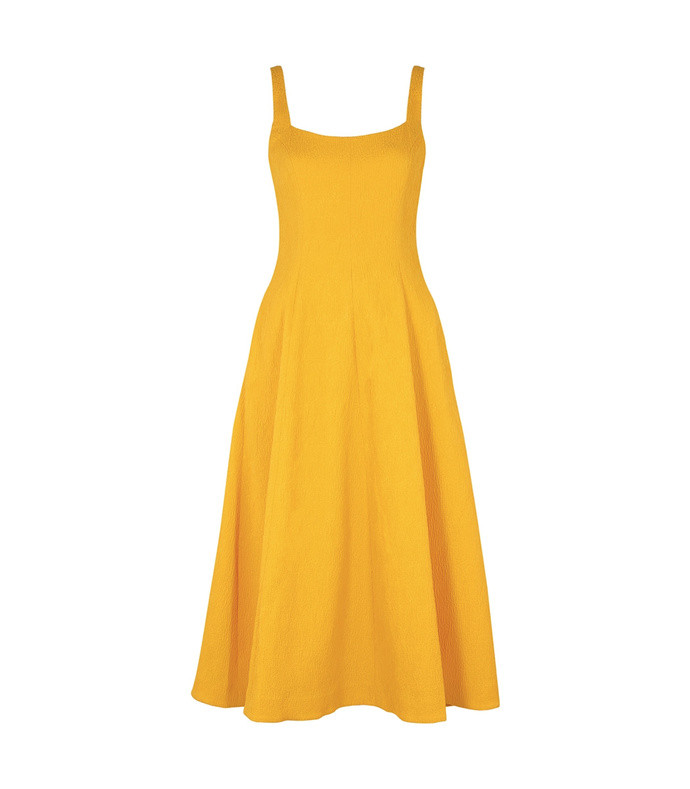 andie yellow cloqué midi dress