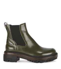 shaye army green leather chelsea boots