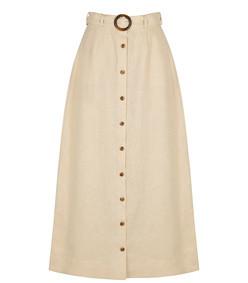 charlotte cream belted linen maxi skirt