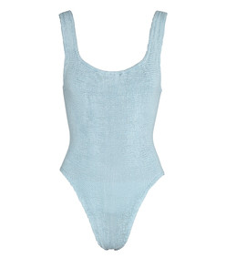 light blue seersucker swimsuit
