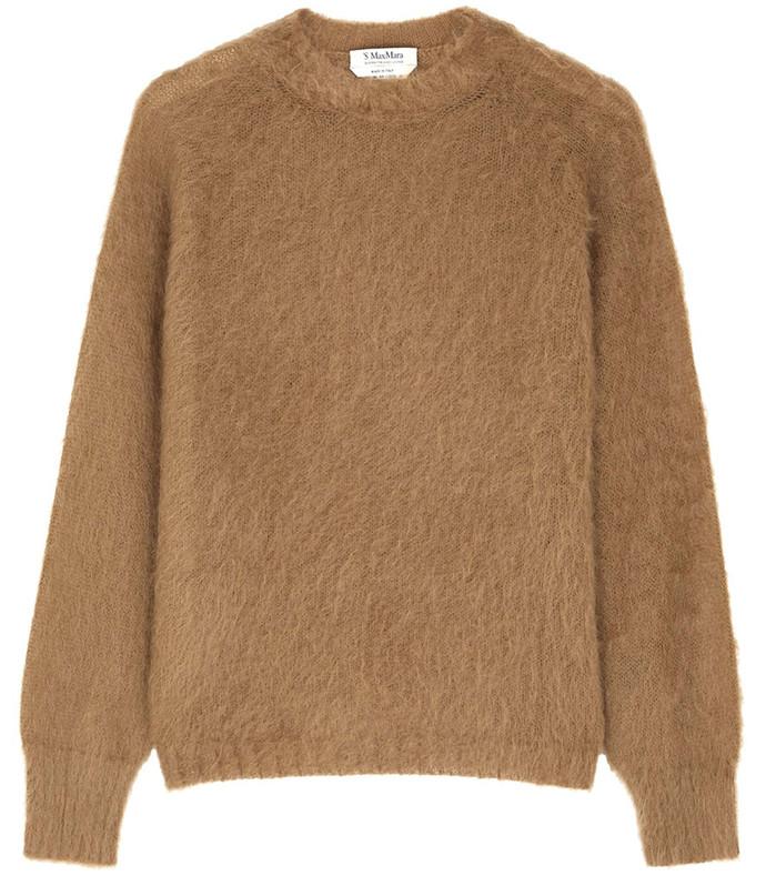 camel mohair-blend jumper