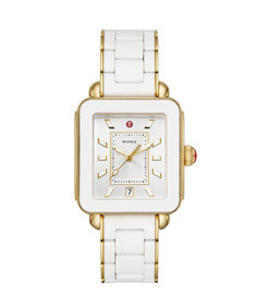 deco sport bracelet watch, gold/white