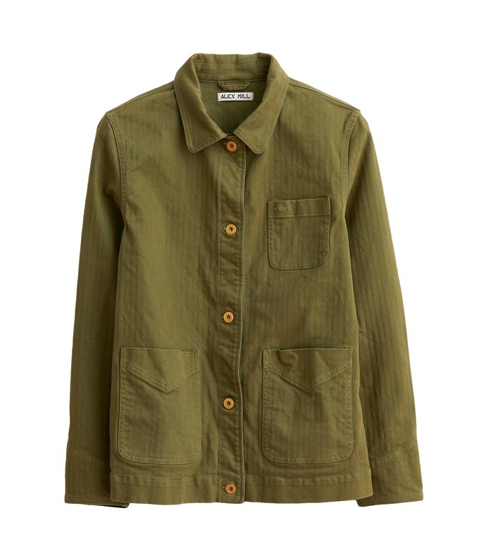 garment dyed work jacket in army olive